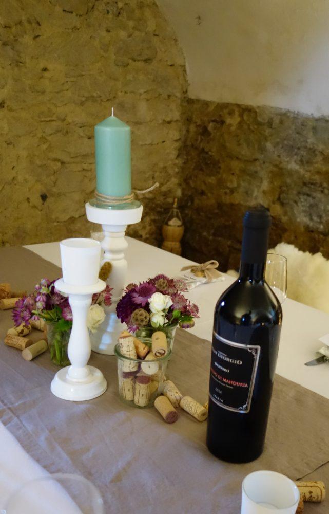 Tischdekoration von kreationell im Weinkeller