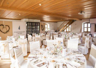 Der festlich dekorierte Saal im Wasserschloss Wyher