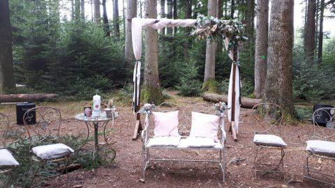 Der romantische Platz unter dem geschmückten Traubogen ist für das Hochzeitspaar reserviert