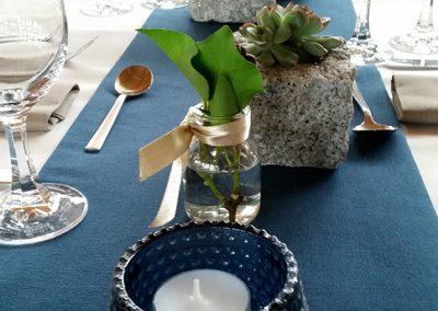 Tischdeko für den 70. Geburtstag eines Bauunternehmers - siehe Pflastersteine